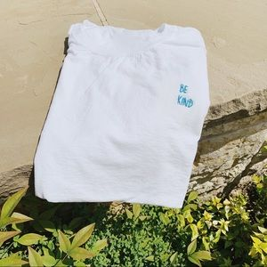 Salty Cold Brew Tops - 'Be Kind' Handmade Embroidered Tee